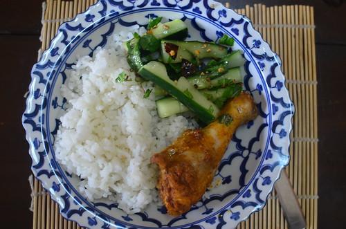 Vietnamese Jasmine Rice, Chicken and cucumber salad