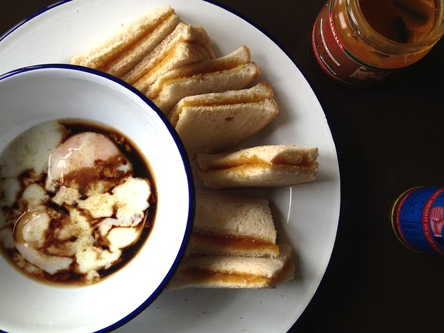 soft-boiled eggs, kaya and butter toast