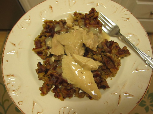 Dressing waffle topped with turkey and gravy