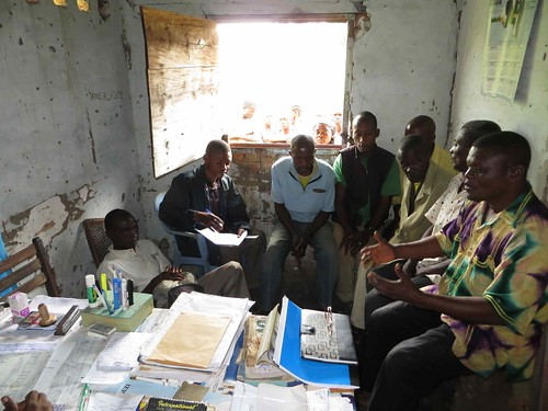 Freddy speaks with displaced Obenge villagers in ANR office-Opala