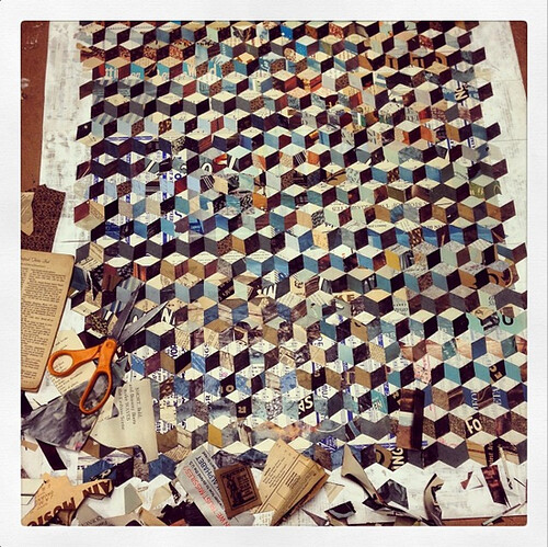 Dolan Geiman Studio Process Image of Tumbling Block Quilt Paper Collage