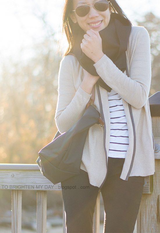 infinity scarf, open cardigan, striped top