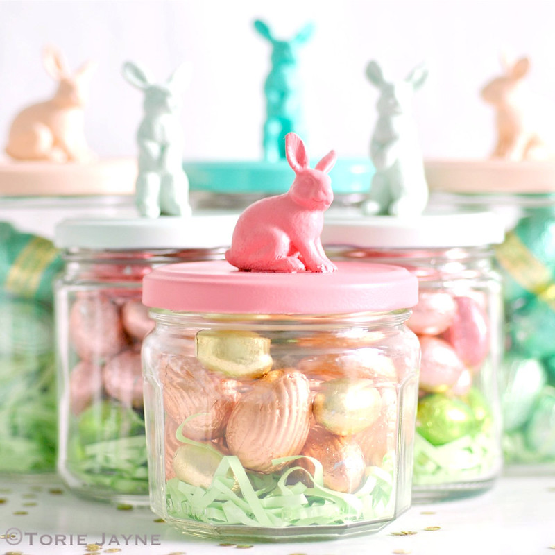 filled bunny jars
