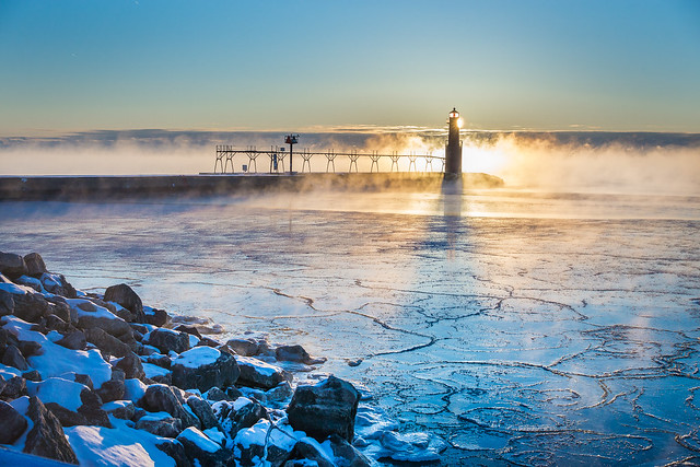 Ice, Harbor, Lighthouse, Rocks, Sunrise, Algoma, Mist