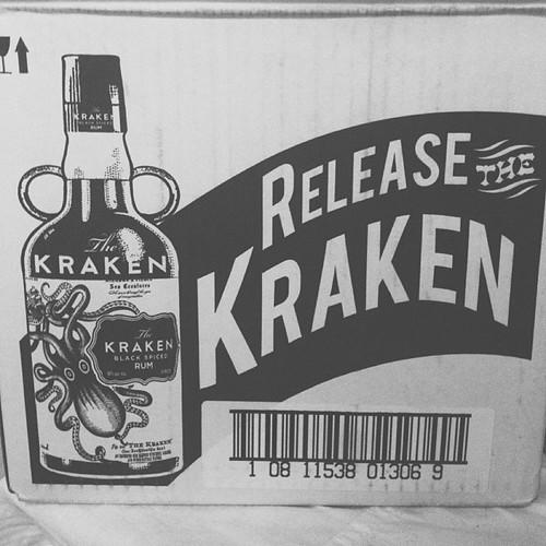 black & white: the boy bought a couple bottles of rum. #FMSphotoaday #photooftheday #photoaday #photoadayjan @fatmumslim #kraken #rum #instadrink