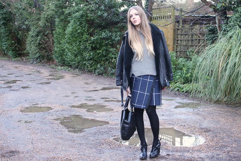 Whistles Lara slate print skirt