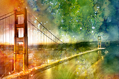 Golden Dawn Bridge - Glowing Watercolor Infusion