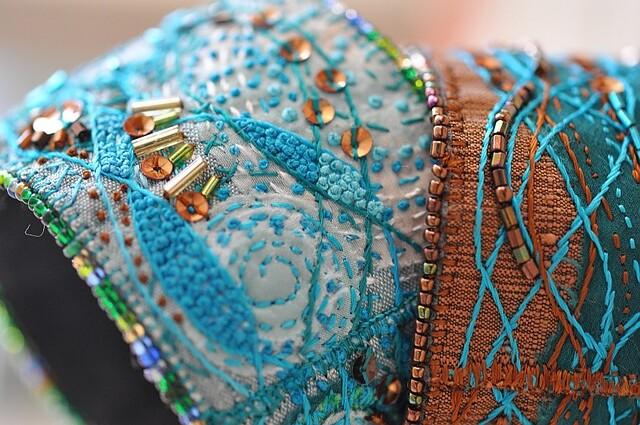 pair of fiber art bracelets