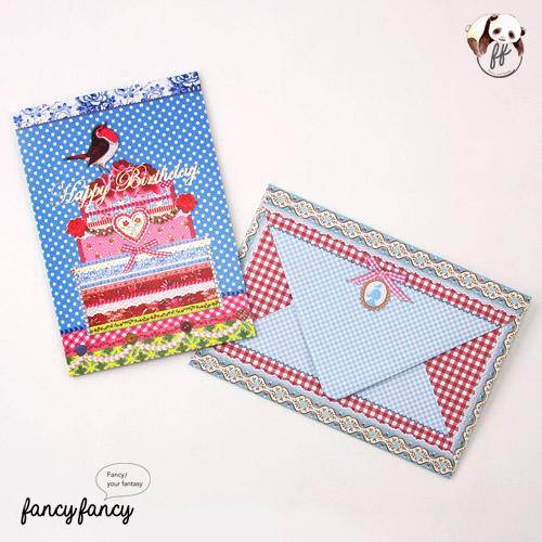 45.荷蘭製歡樂童話生日卡含信封(一份六組)-藍色