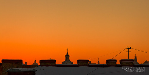 old roof cold town hell january lithuania vilnius