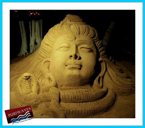 For the eve of Maha Shivaratri sand sculpture of Lord Shiva in Puri