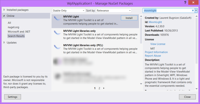 MVVM Light Toolkit - Installing with Nuget