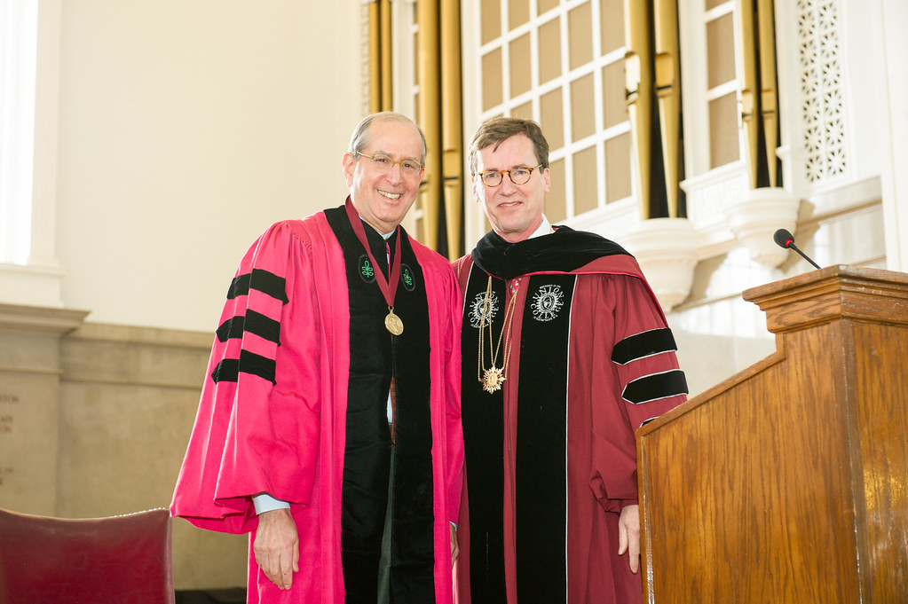 Dr. Alfred Sommer '63 with President Stephen C. Ainlay