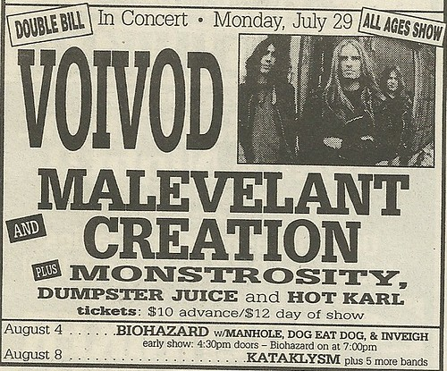 07/29/96 Voi Vod/ Malevolent Creation/ Monstrosity/ Dumpster Juice/ Hot Karl @ Mirage, Minneapolis, MN