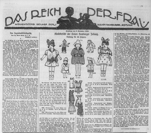 Hamburger Anzeiger, 6.11.1926, Das Reich der Frau: Weekly supplement for women