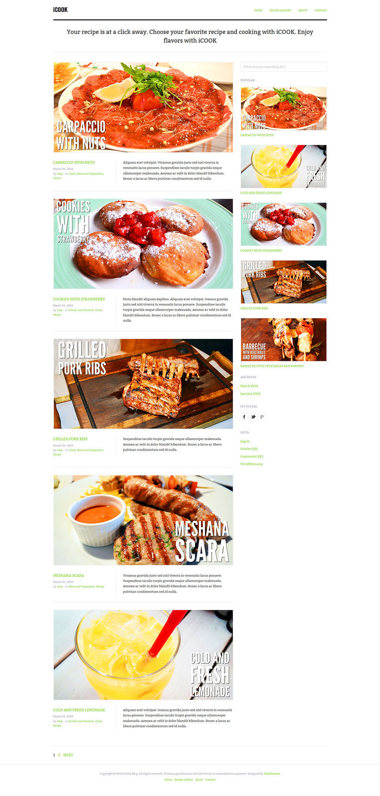 iCook Food Blog WordPress Theme
