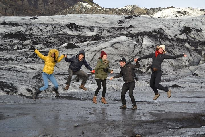 Jumping on an Icelandic glacier