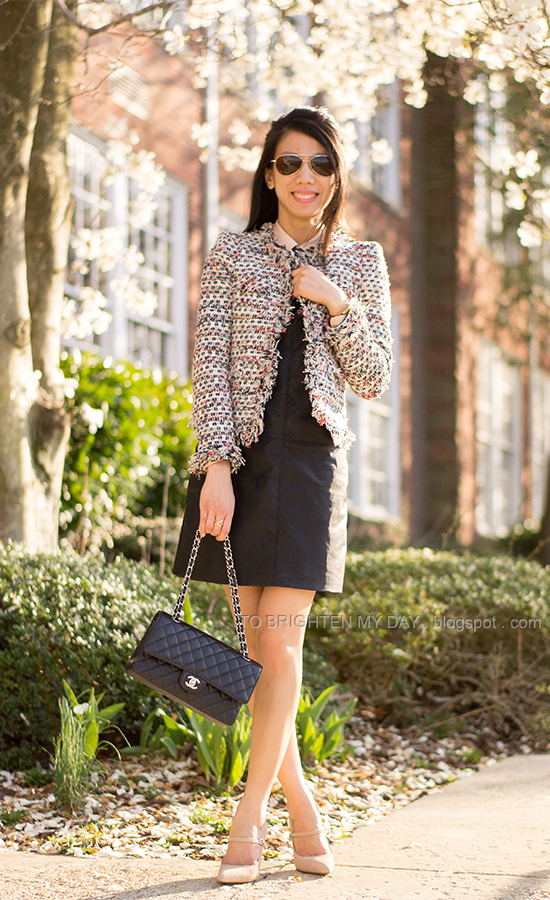 tweed jacket, collared blouse, black leather dress, suede mary jane pumps