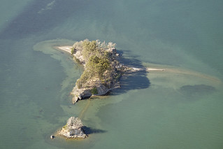 Aerial view of Duck Island and Hog Island, Tomales Bay, California