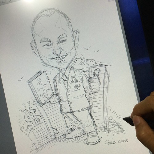 digital accomplished book author Lim Yock Hock caricature for Propnex