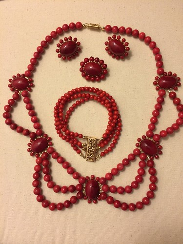 Coral Necklace, Bracelet, Earrings, Brooch