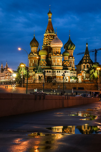 Saint Basil's Cathedral view from Bolshoy Moskvoretsky Bridge, Moscow, Russia モスクワ、ボリショイ・モスクヴァレツキー橋から見た聖ワシリー寺院