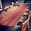 A table with mountains for people who have no mountains in their country.  W2600 x D1000 x H740  Walnut - Beeswax  Bronze