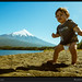 Beach baby with volcano, Chile