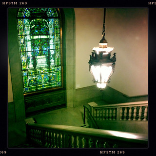 Main library stairs & hanging lamp