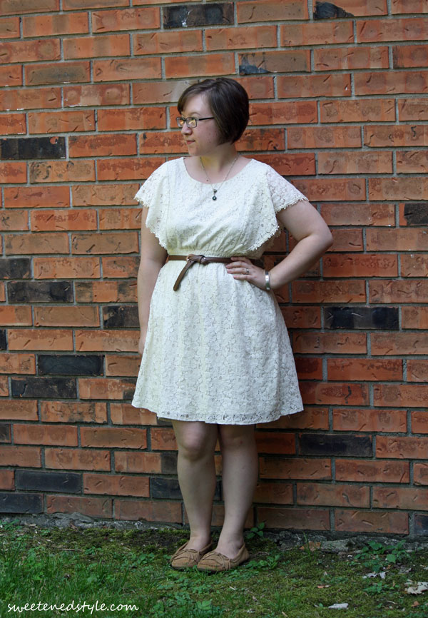white lace dress, brown belt, moccs