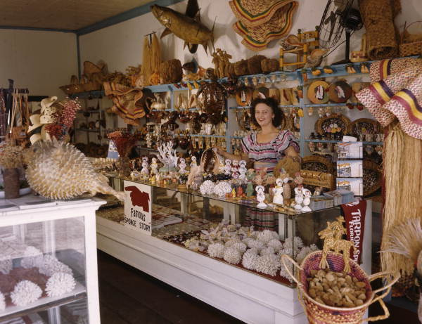 Assistant Niki Vasilikis in John M. Gonatos' curio shop in Tarpon Springs, Florida
