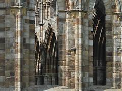 Whitby Abbey arches through windows