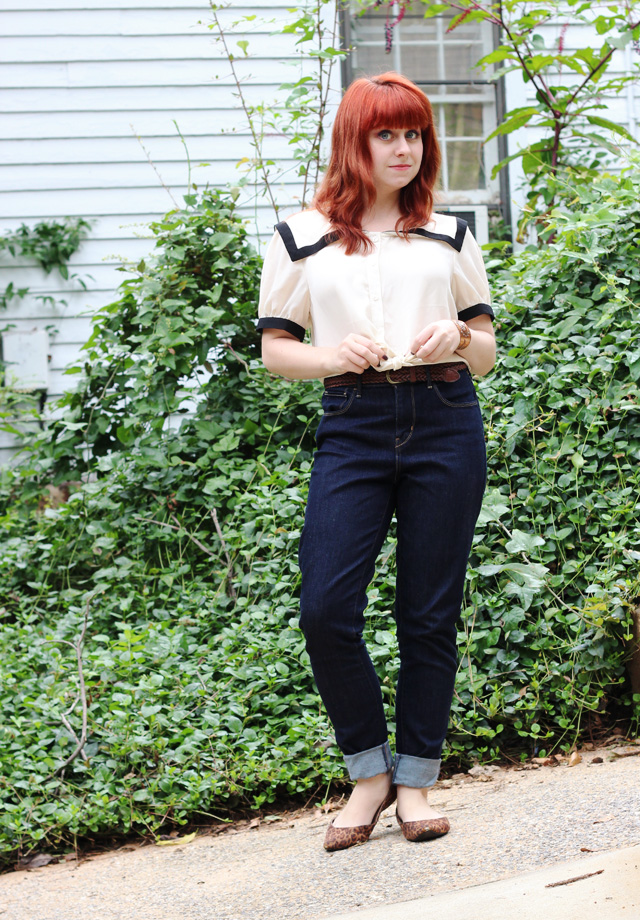 Sailor Crop Top, High Waisted Jeans, Leopard Flats