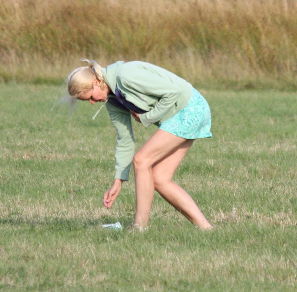 Return to Godalming - Aug 2013 - Candid - Tall Mature Woman Picks Up Litter