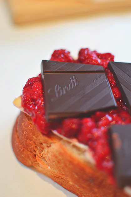 Toasted Brioche Sandwich with Chocolate, Brie & Raspberries