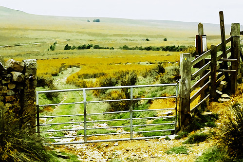 england painterly art rural fence painting artwork gate paint photoshopped fake farmland lancashire moors paths footpath pennine westpenninemoors applecrypt