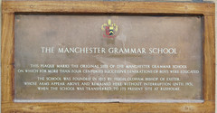 Photo of Manchester Grammar School and Hugh Oldham stone plaque
