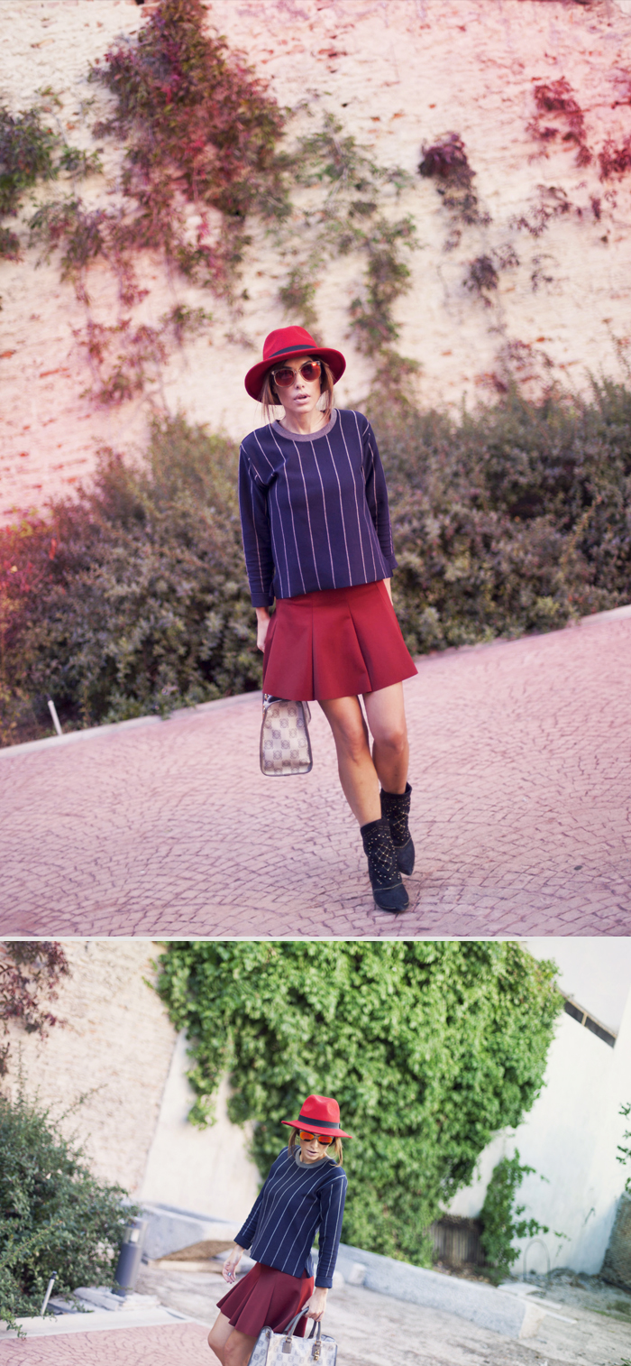 street style barbara crespo trap in red zara skirt ankle boots loewe outfit
