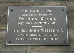 Photo of John Wesley and John Ritchie bronze plaque