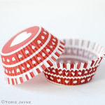 Red & white heart cupcake cases