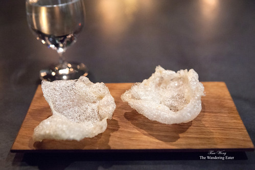 Course 6 - Beef tendon chip brushed with sea urchin fish sauce