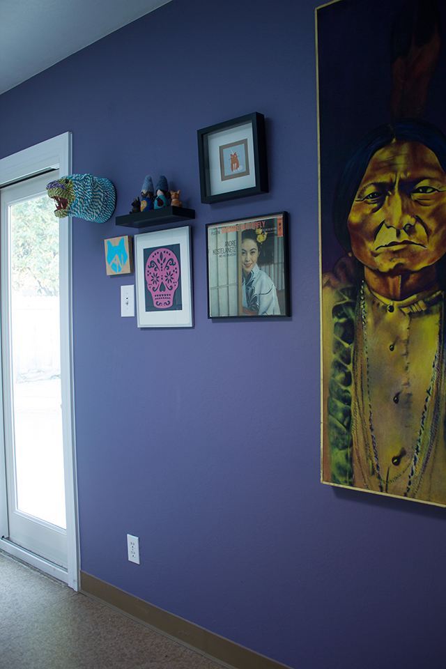 Purple gallery wall
