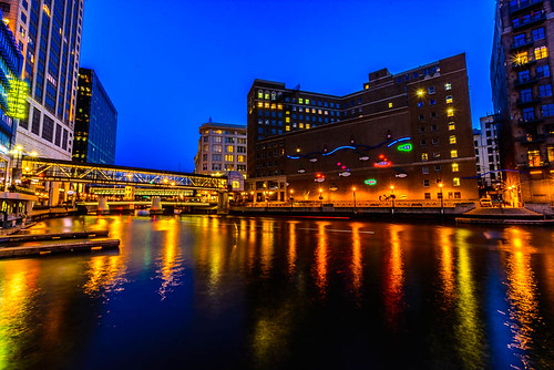 longexposure blue wisconsin architecture night reflections river lights downtown milwaukee bluehour riverwalk skywalk 2013
