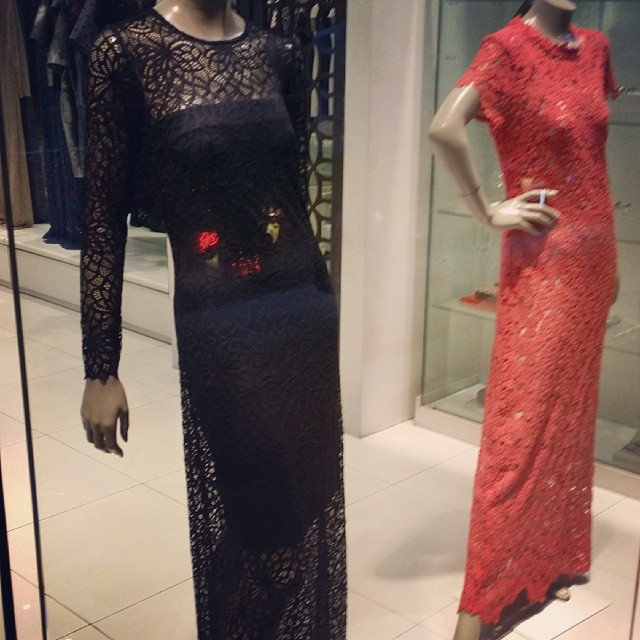 So beautiful! Stunning lace long dresses at K&Company. (Shot through glass, sorry for the reflection).