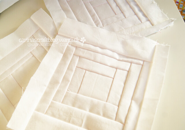 Wonky white log cabin squares