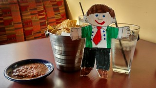 Flat Stanley loves chips and salsa!
