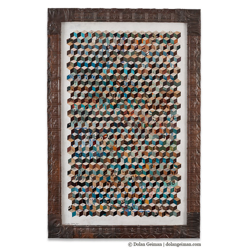 Dolan Geiman Tumbling Block Quilt Paper Collage, Fiber Fine Art Collage
