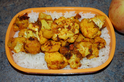 Basmati rice and Indian-spiced cauliflower vegan bento