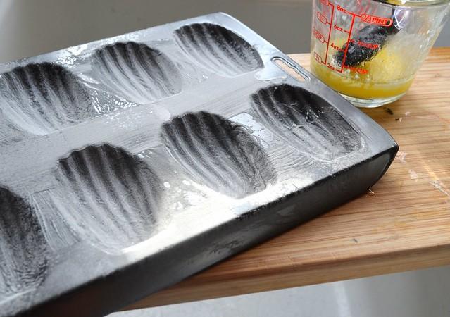 Buttered, Floured Madeleine Pan