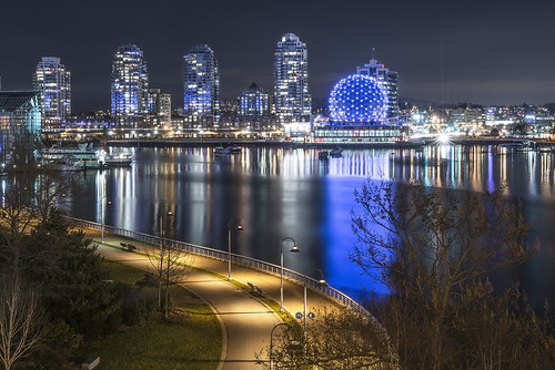 city longexposure nightphotography canada reflection art tourism beautiful night vancouver buildings reflections photography lights aperture nikon cityscape nightlights bc view nightshot britishcolumbia seawall citylights burrardinlet nightshots nightview manual nikkor scienceworld longexposures touristsites slowaperture cityshoreline